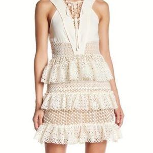 sleeveless v neck cream ruffled lace dress